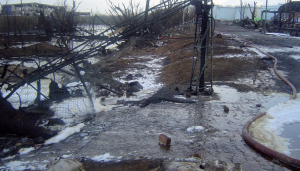 Fuel and firefighting liquids flowed off site