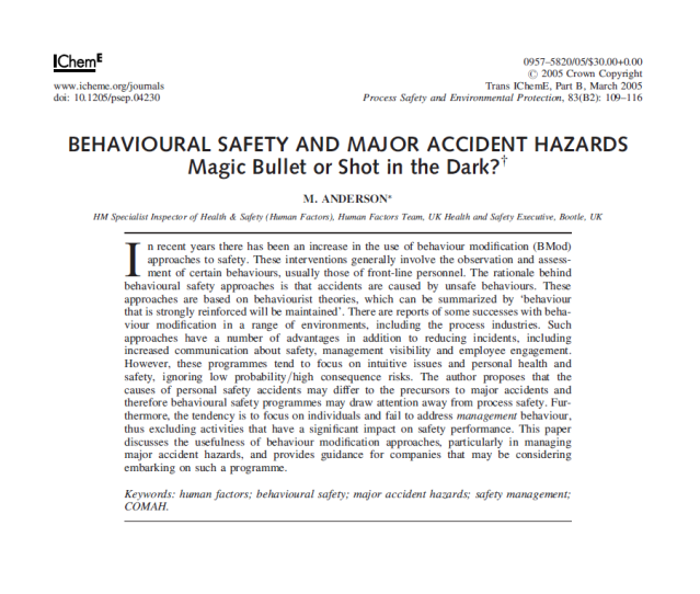 Behavioural safety and major accident hazards - Magic bullet or shot in the dark?